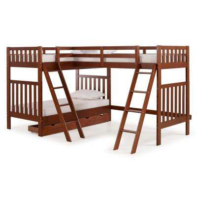 Aurora Chestnut  Twin Over Twin Bunk Bed with Third Bunk Extension and Storage Drawers