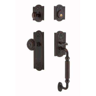 Meadows Plate 2-3/4 in. Backset Timeless Bronze F Grip Entry Set Meadows Knob