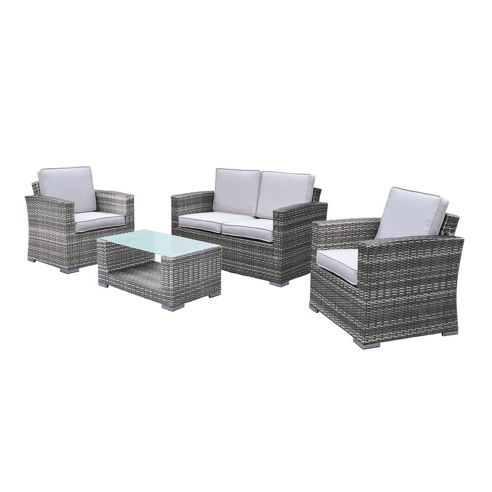 Borneo 4-Piece Wicker Patio Deep Seating Set with Oatmeal Cushions