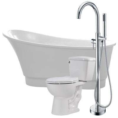 Prima 67 in. Acrylic Flatbottom Non-Whirlpool Bathtub in White with Kros Faucet and Cavalier 1.28 GPF Toilet