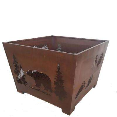Bear 24 in. x 16 in. Square Steel Wood Burning Fire Pit in Rust