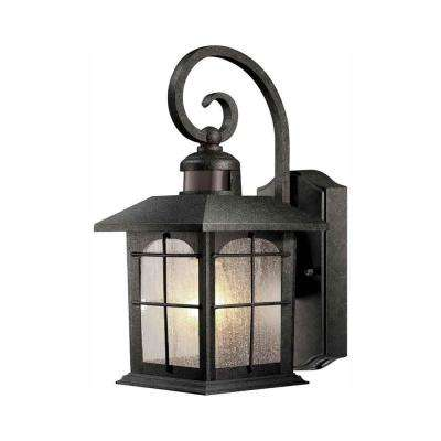 Brimfield 180° 1-Light Aged Iron Motion-Sensing Outdoor Wall Lantern Sconce