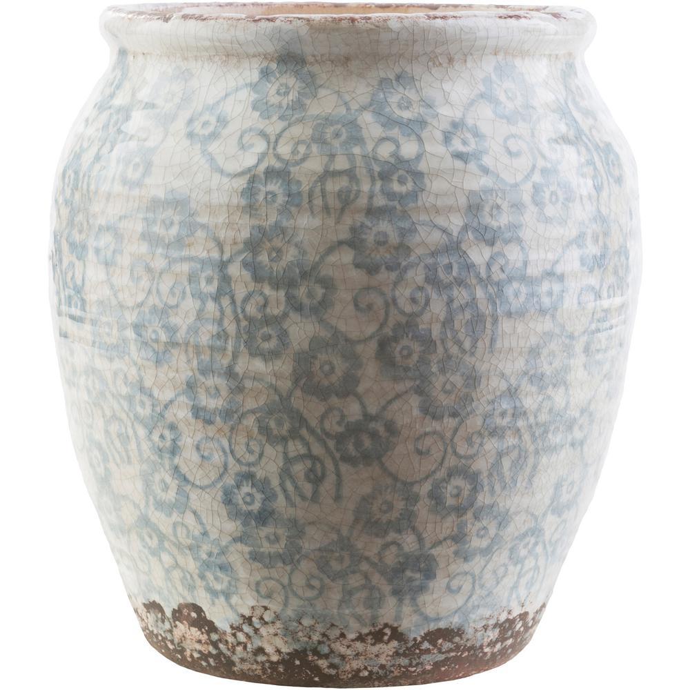 Marcus 13 in. Blue Ceramic Decorative Vase