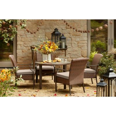 Harper Creek 5-Piece Brown Steel Outdoor Patio Dining Set with CushionGuard Putty Tan Cushions