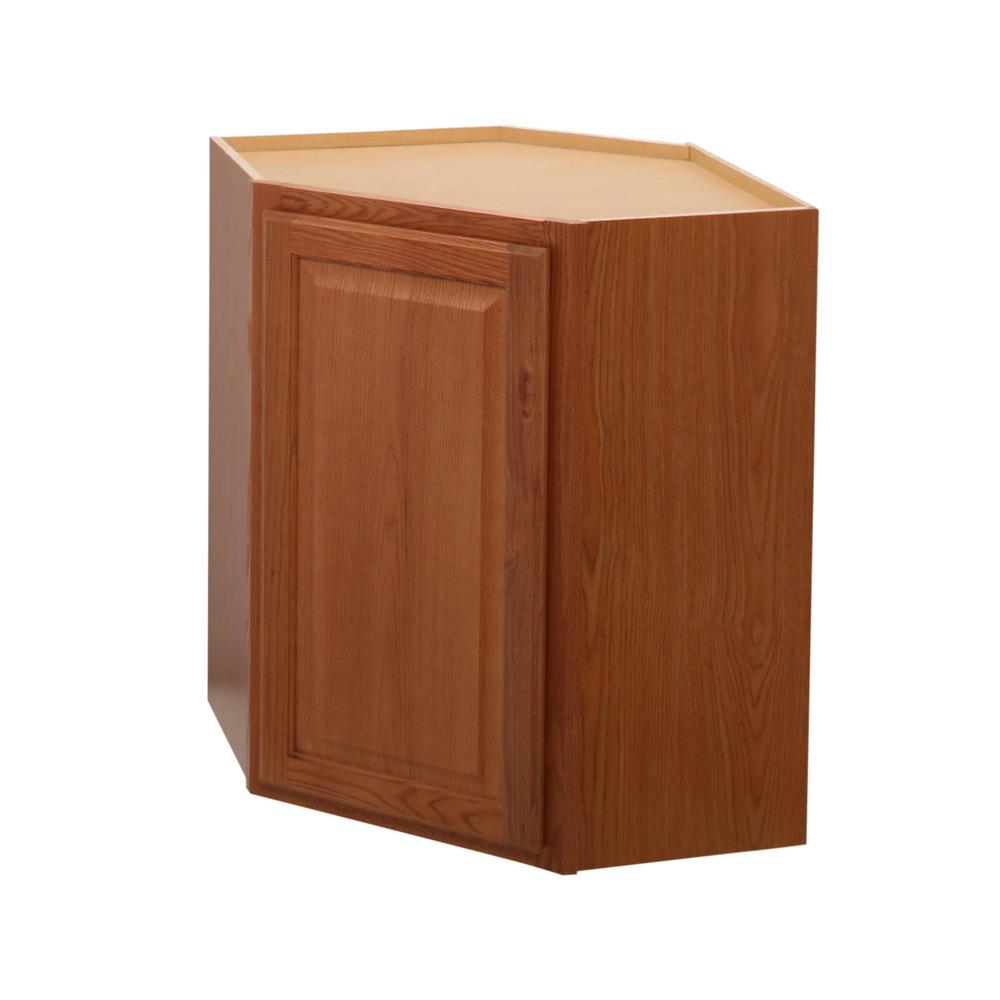 Etonnant Hampton Bay Hampton Assembled 24x30x12 In. Diagonal Corner Wall Kitchen  Cabinet In Medium Oak