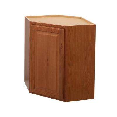 Hampton Assembled 24x30x12 in. Diagonal Corner Wall Kitchen Cabinet in Medium Oak