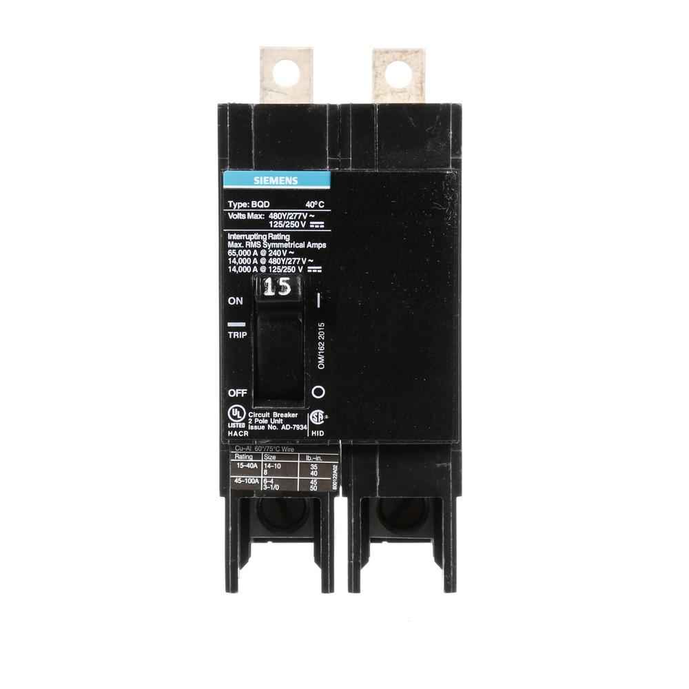 Siemens 15 Amp Double-Pole Type BQD Bolt-On Circuit Breaker-BQD215 ...