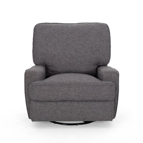 Noble House Crockett Traditional Charcoal Gray Tweed Fabric Swivel Glider