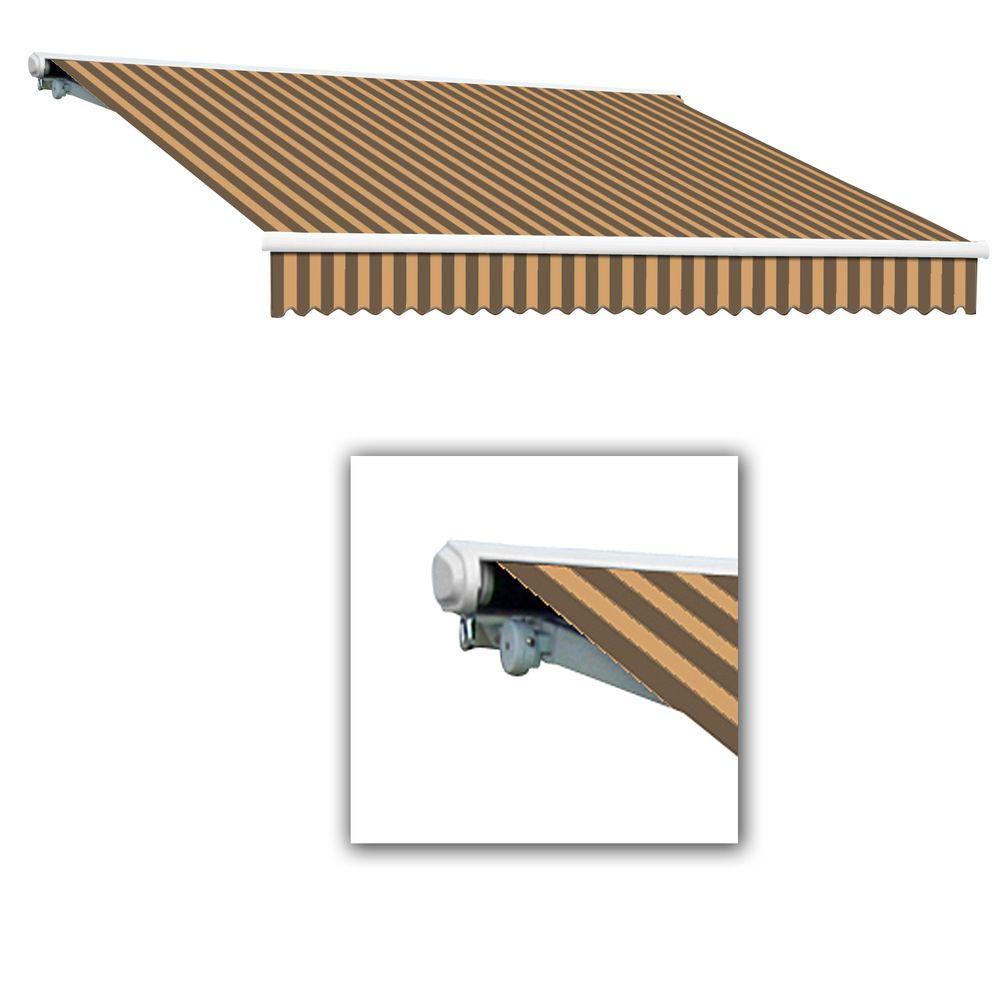 AWNTECH 10 ft. Galveston Semi-Cassette Left Motor with Remote Retractable Awning (96 in. Projection) in Brown/Tan