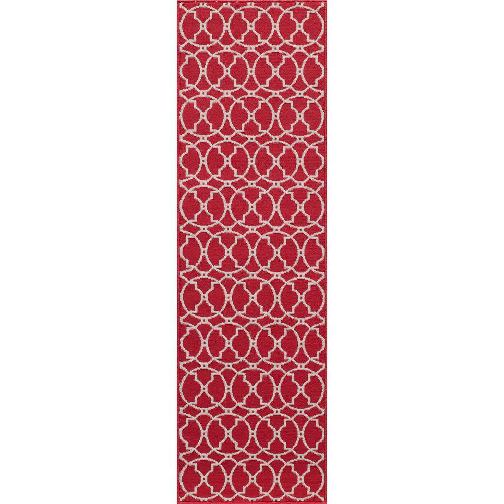 Baja Moroccan Tile Red 2 ft. 3 in. X 7 ft. 6 in. Indoor/Outdoor Runner
