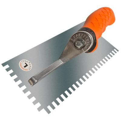 Ergonomic 1/4 in. x 1/4 in. x 3/8 in. Stainless Steel Square Notched Flooring Trowel with Left Adjustable Handle