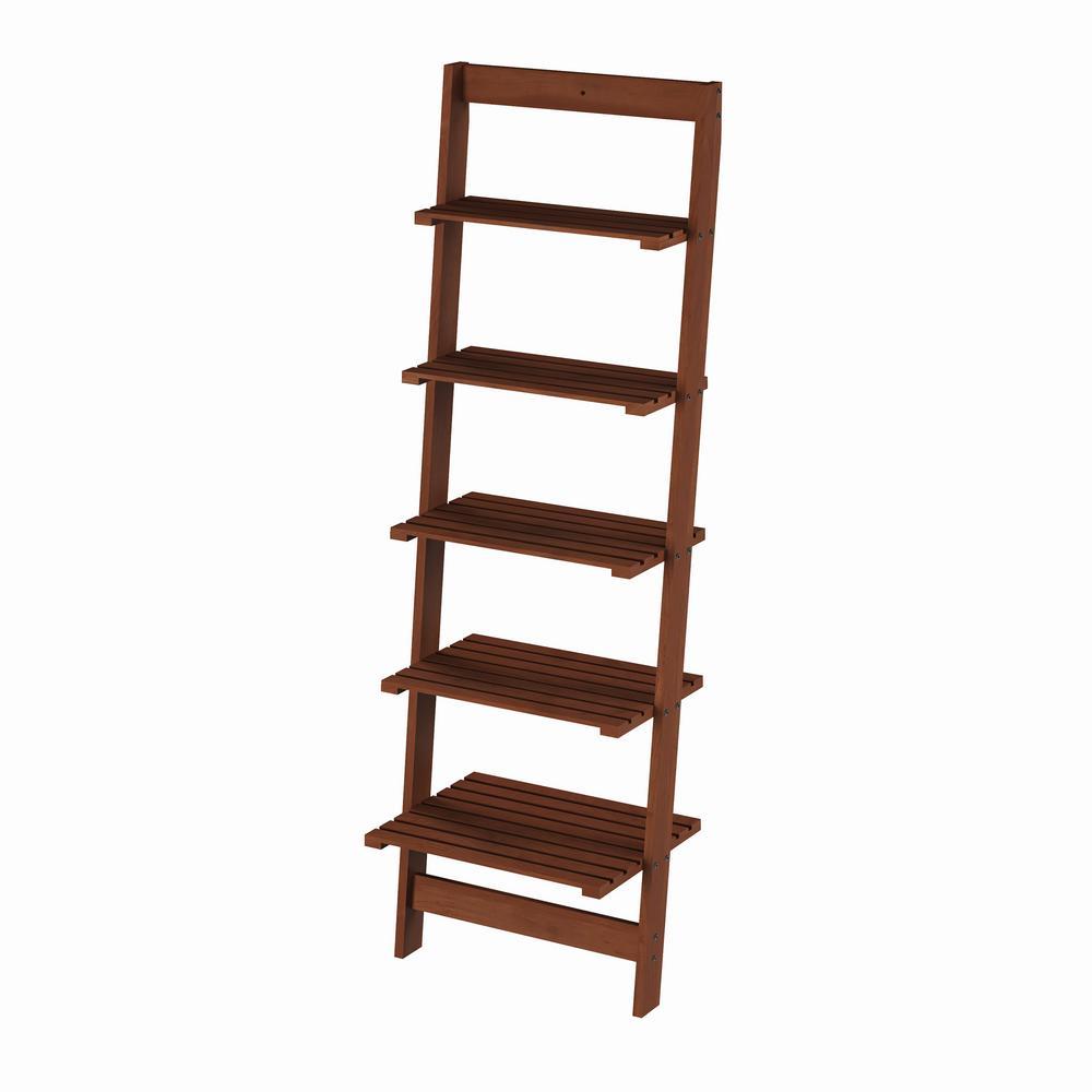 50 in. Walnut Wood 5-shelf Ladder Bookcase with Open Back