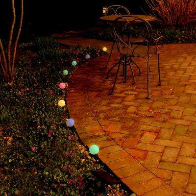 2.5 in. Round Solar Pathway Color Changing String Lights (8-Light)