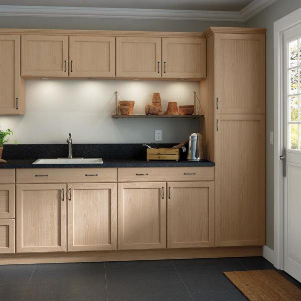 Hampton Bay Easthaven Shaker Assembled 36x36x12 In Frameless Wall Cabinet In Unfinished Beech Eh3636w Gb The Home Depot