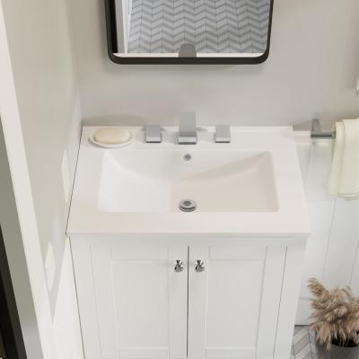 24 in. Ceramic Vanity Top with 3-Faucet Holes with White Basin