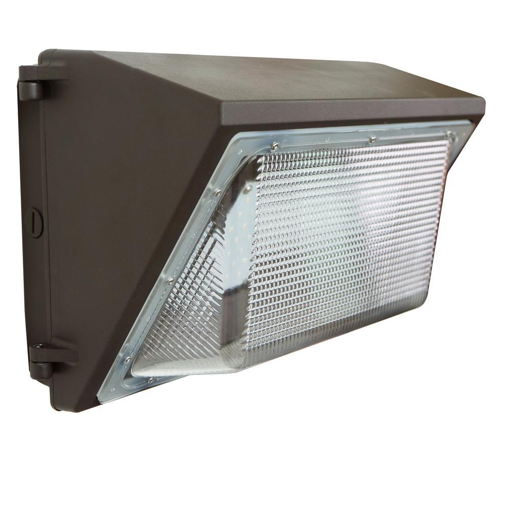 J&H LED 100-Watt Integrated LED Bronze Outdoor Industrial-Grade Wall Pack Light