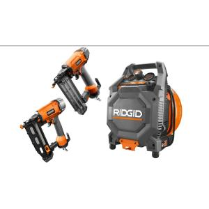 Ridgid 3.5 Gal. 200 PSI 12 Amp Electric Vertical Compressor Plus 18-Gauge Brad Nailer and 16-Gauge Straight... by RIDGID