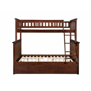 Columbia Bunk Bed Twin Over Full with Twin Size Urban Trundle Bed in Walnut