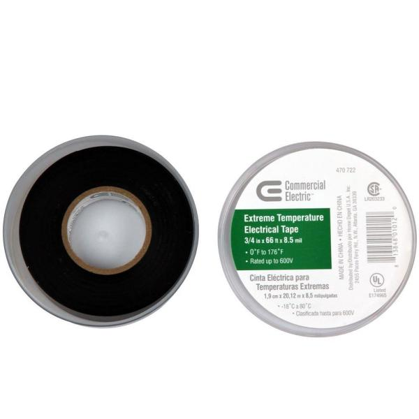 Commercial Electric 3 4 In X 66 Ft Extreme Temperature Vinyl Electric Tape 30002663 The Home Depot