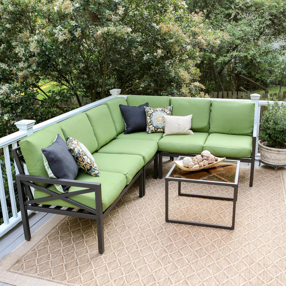 Leisure Made Blakely Black 5 Piece Aluminum Outdoor Sectional With Green  Cushions Design Inspirations