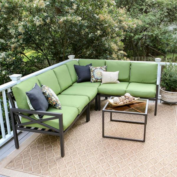 Blakely Black 5-Piece Aluminum Outdoor Sectional with Green Cushions