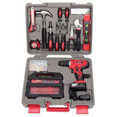 Household Tool Set with 10.8-Volt Lithium-Ion Cordless Drill (143-Piece)
