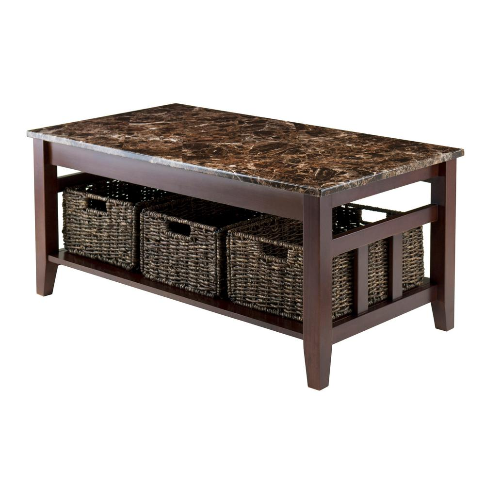 Winsome Wood Zoey Walnut Marble Top Coffee Table 76337 The Home Depot