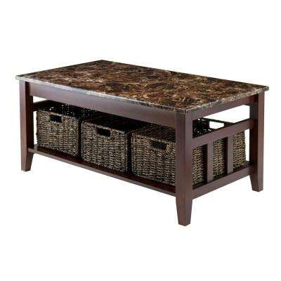 Zoey Walnut Marble Top Coffee Table