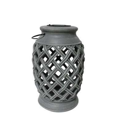 Woven-Style 12 in. Grey 1-Light Integrated LED Solar Candle Lantern