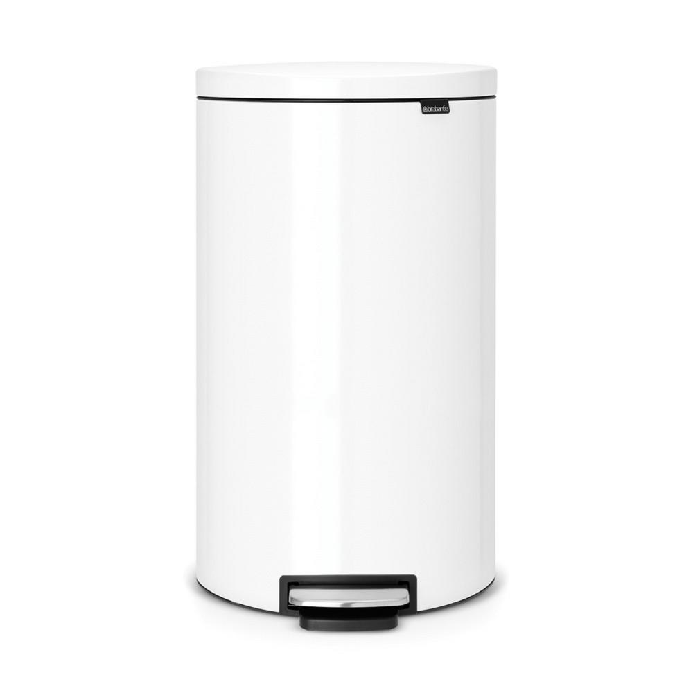 8 Gal. White Steel Flatback Step-On Trash Can