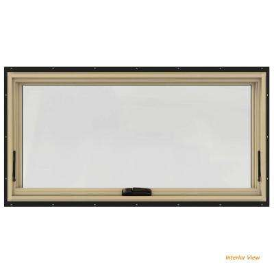 48 in. x 24 in. W-2500 Series Bronze Painted Clad Wood Awning Window w/ Natural Interior and Screen