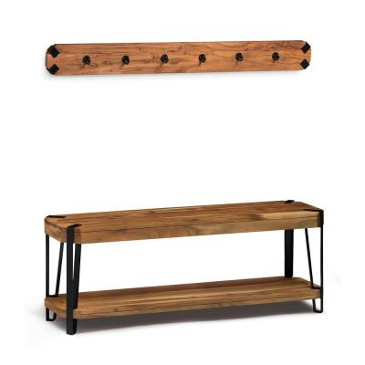 48 in. Ryegate Natural Live Edge Bench with Coat Hook Set