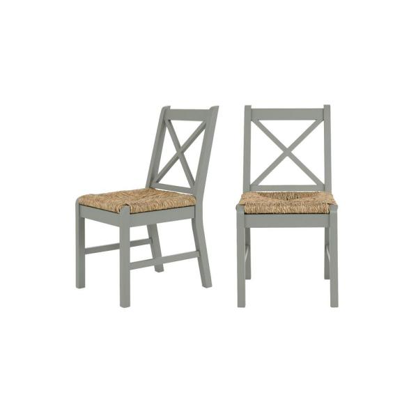 Dorsey Willow Green Wood Dining Chair with Cross Back and Rush Seat (Set of 2) (17.72 in. W x 35.43 in. H)