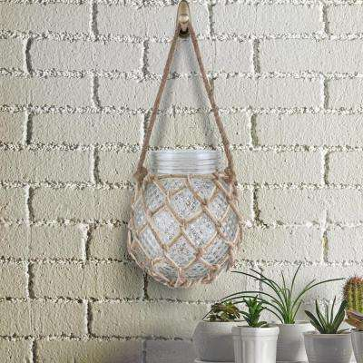 5 in. x 6 in. Textured Round Glass with Woven Rope Cage and Handle