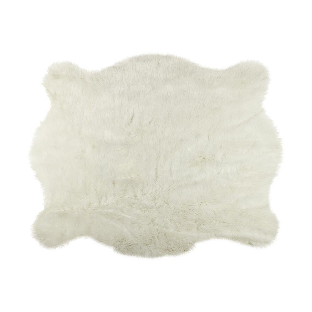 Faux Polar Bear 4. 25 Ft. X 5 Ft. Cowhide Rug-676685039453