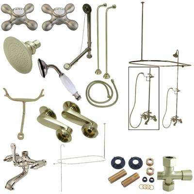 Vintage Combo Set 3-Handle Claw Foot Tub Faucet with Shower Set in Brushed Nickel