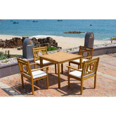 Montclair Teak Brown 5-Piece Outdoor Dining Set with Beige Cushions