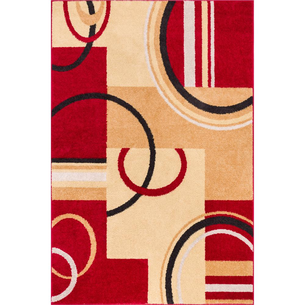 Well Woven Mystic Boombastic Red 8 Ft X 10 Modern Geometric Area Rug
