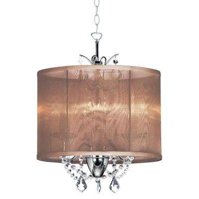 Catherine 3 Light Incandescent Polished Chrome Chandelier with Brown Organza Shades