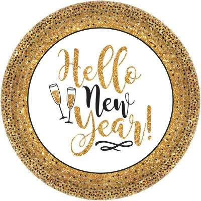 New Year's 10.5 in. Gold Glitter Plates (18-Count, 3-Pack)