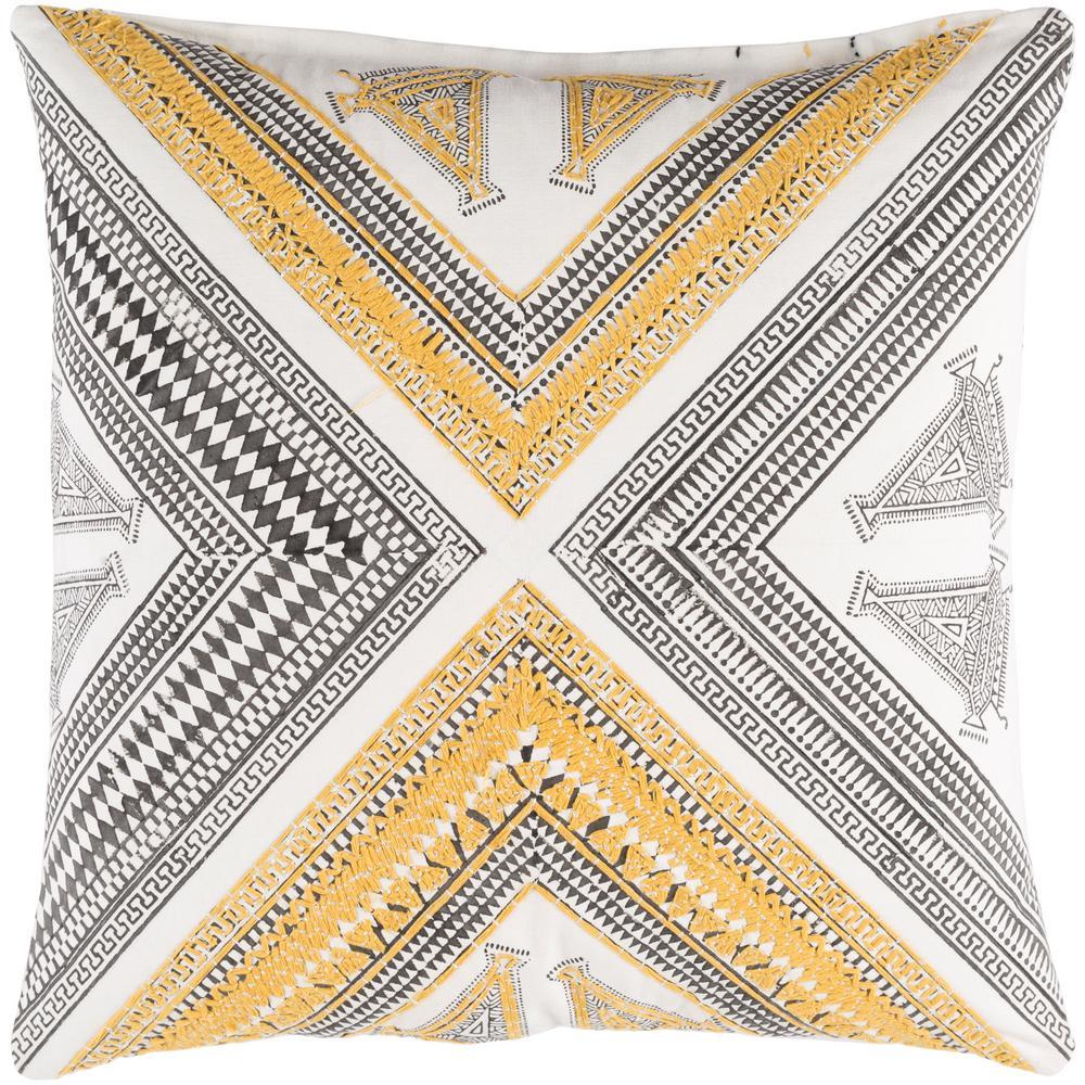 Dunmaston Yellow Geometric Polyester 18 in. x 18 in. Throw Pillow