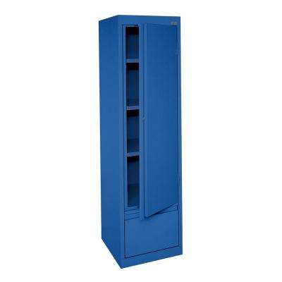 System Series 17 in. W x 64 in. H x 18 in. D Single Door Storage Cabinet with File Drawer in Blue