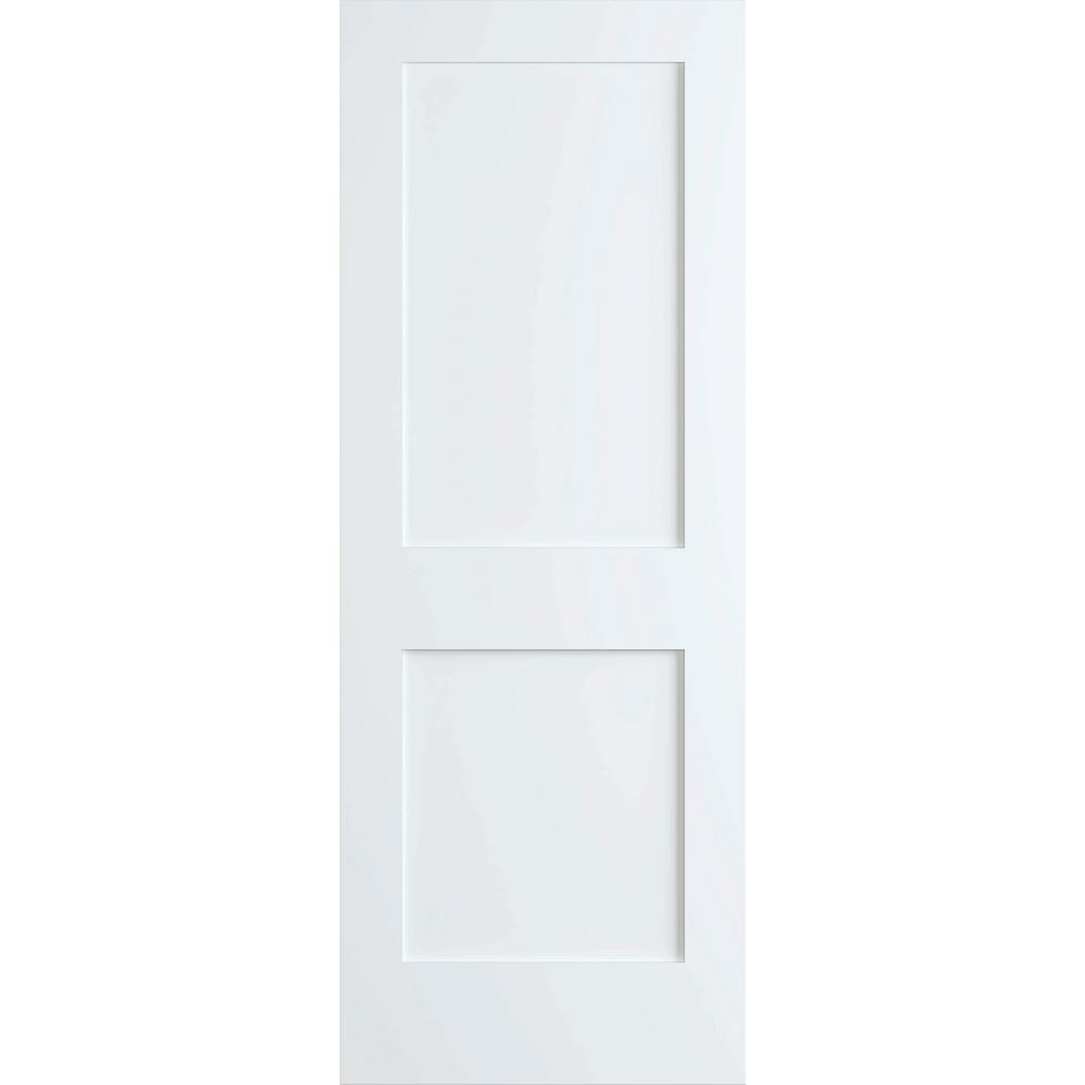 24 in. x 80 in. White 2-Panel Shaker Solid Core Pine Interior Door Slab