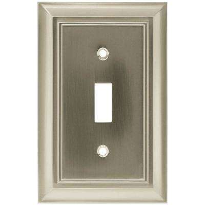 Architectural Decorative Single Switch Plate, Satin Nickel (4-Pack)