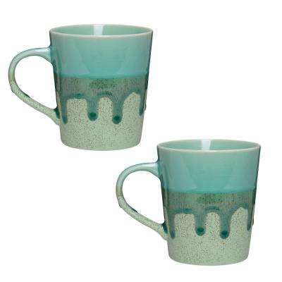 Primitive Aventurine 16 oz. Green Ceramic Coffee Mug (Set of 2)