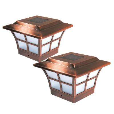 Prestige 4 in. x 4 in. Outdoor Electroplated Copper LED Solar Post Cap (2-Pack)