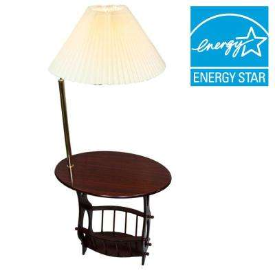 52.25 in. Cherry Brass Floor Lamp End Table Magazine Rack Combination