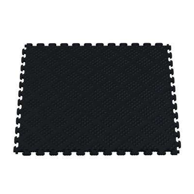 Multi-Purpose Black 18.3 in. x 18.3 in. PVC Garage Flooring Tile with Raised Diamond Pattern (6-Pieces)