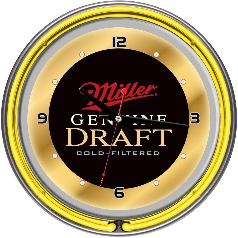 Trademark Global 14 in. Miller Genuine Draft Neon Wall Clock