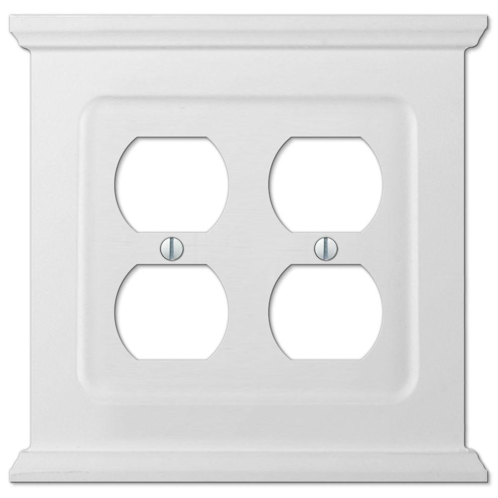 Mantel 2 Gang Duplex Wood Wall Plate - White